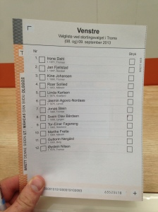 Venstre-stemmeseddel i Troms